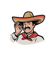 mexican man in sombrero logo cartoon vector image