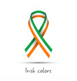 modern colored ribbon with the irish tricolor vector image vector image