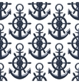 Nautical anchors and helms seamless pattern vector image vector image