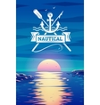 Nautical logo and sunset background concept vector image vector image
