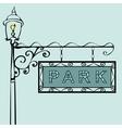 Park retro vintage street sign vector image vector image