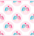 pattern with funny blue and pink loving owls vector image vector image
