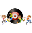 People dancing and disk in background vector image vector image