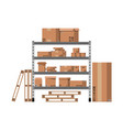 pile cardboard boxes on shelves vector image vector image