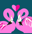 pink flamingos in love vector image vector image
