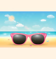 pink sunglasses on a bright sea sand beach vector image vector image