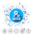 quiz sign icon questions and answers game vector image vector image