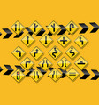 raffic sign on yellow background vector image vector image