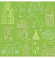 Seamless pattern with doodle houses vector image vector image