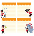 set circus show on note template vector image vector image