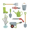 Set of various agricultural tools for garden care vector image vector image