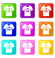 shirt with print icons 9 set vector image vector image