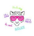 sketch head leopard in pink club glasses vector image vector image