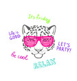 sketch head of leopard in pink club glasses vector image vector image