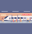 subway platform with people passengers on metro vector image