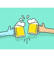 Two abstract hands holding beer glasses with foam vector image vector image