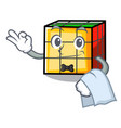 waiter rubik cube mascot cartoon vector image vector image