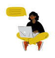 young woman using laptop computer messenger vector image