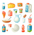 milk dairy products in flat style breakfast vector image