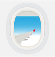 airplane windows with cloudy blue sky outside vector image vector image
