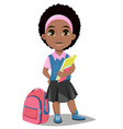 back to school cute afro-american girl with books vector image vector image
