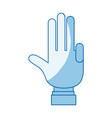 blue color shading silhouette hand palm showing vector image vector image
