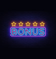 bonus neon text bonus neon sign design vector image vector image