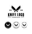 butcher knife logo design emblem vector image