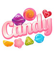candy logo with sweet candies vector image