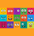 cartoon face expressions happy surprised faces vector image vector image