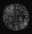 chemical physics silver round outline vector image
