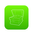 chest of gold icon green vector image