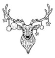 christmas deer with toys engraving vector image