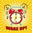 comic alarm clock ringing and expression with vector image vector image