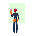 construction worker electrician in hardhat vector image vector image