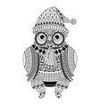 cute cartoon tribal owl coloring book style vector image vector image