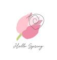 cute tulip flower in hand drawn cartoon doodle vector image
