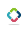 diamond shape colorful l or r letter logo design vector image vector image