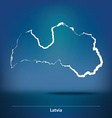 Doodle Map of Latvia vector image vector image