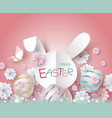 easter design of paper rabbit and flowers vector image