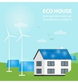 Eco house banner Sun and wind energy generation vector image vector image