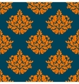 floral seamless pattern with orange on indigo vector image vector image