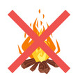 forbidden to build fire sign vector image