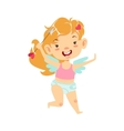 Girl Baby Cupid With Arrow Winged Toddler In vector image vector image