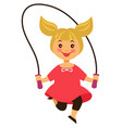 happy little blonde girl jumps over skipping rope vector image