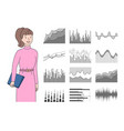 infocharts and woman holding clipboard with pages vector image vector image