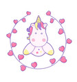 kawaii cute unicorn head face and frame of hearts vector image vector image
