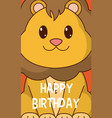 lion cute birthday card vector image vector image