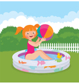 Little girl splashing in an inflatable pool in his vector image vector image