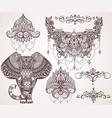 lotus hamsa elephant ganesha mihendi style vector image